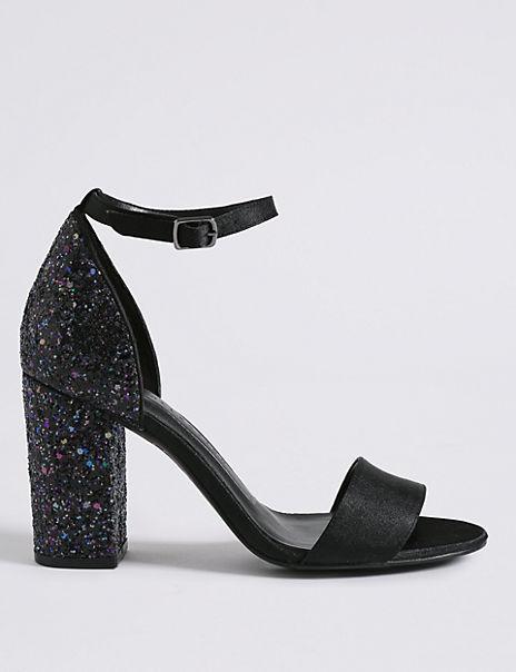 Two Part Block Heel Sparkle Sandals