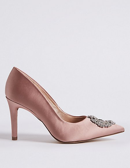 Stiletto Heel Jewel Pointed Toe Court Shoes