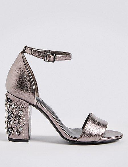 Block Jewel Heel Two-Part Sandals