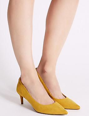 Kitten Heel Pointed Toe Court Shoes, DARK OCHRE, catlanding
