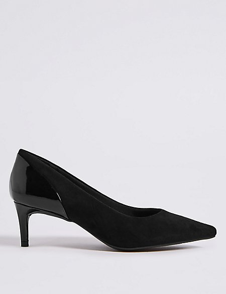 Kitten Heel Pointed Toe Court Shoes