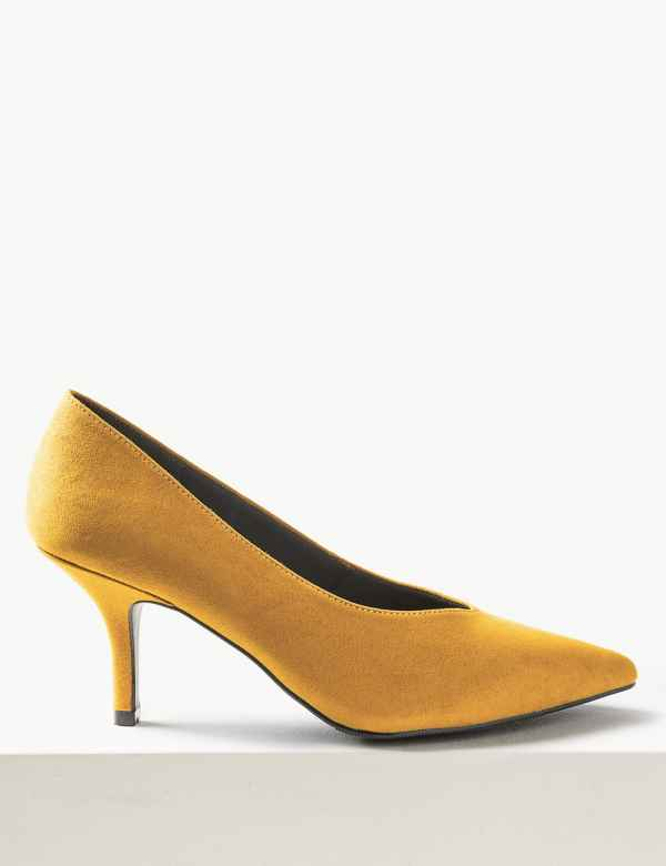 c8354580aceca5 Stiletto Heel High Cut Court Shoes. M S Collection