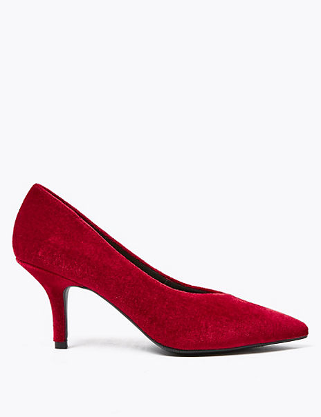 Velvet Pointed Toe Court Shoes