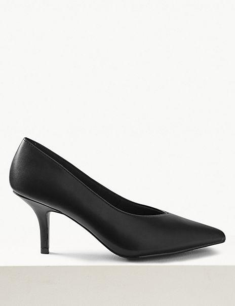 Stiletto Heel High Cut Court Shoes