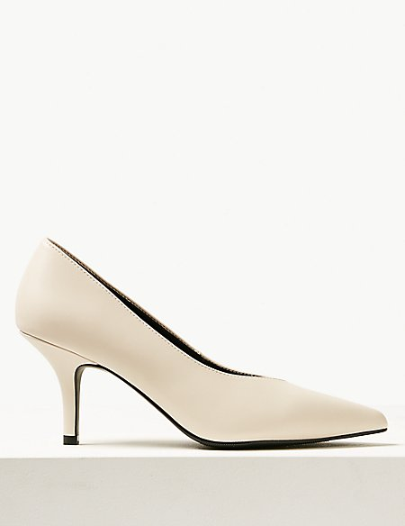 Stiletto Heel High Cut Court Shoes