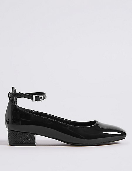 Block Heel Ankle Strap Court Shoes