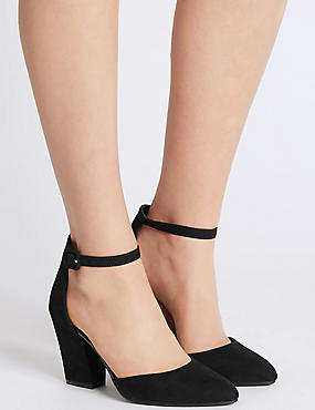 Block Heel Ankle Strap Court Shoes, BLACK, catlanding