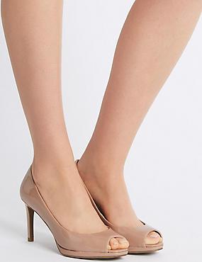 Stiletto Heel Platform Court Shoes, NUDE, catlanding