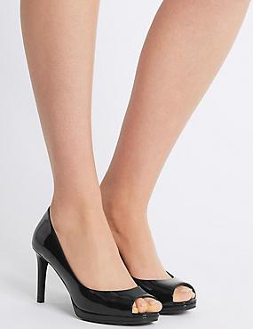 Stiletto Heel Platform Court Shoes, BLACK PATENT, catlanding