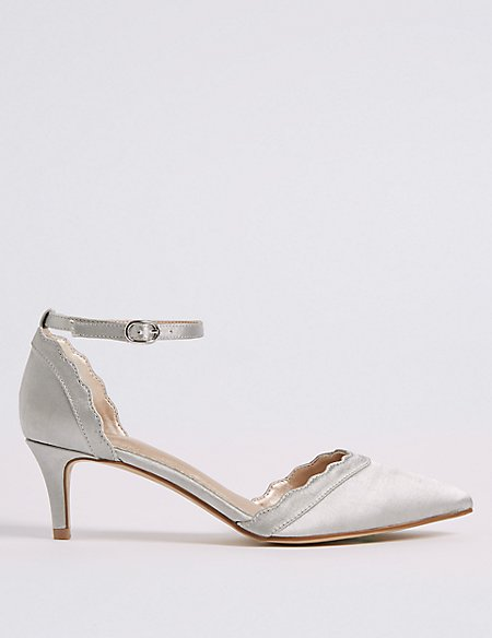 Kitten Heel Scallop Court Shoes