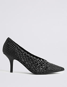 Stiletto Heel Weave Court Shoes
