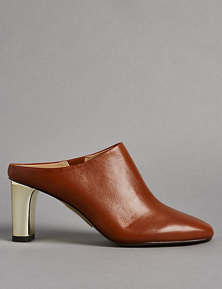 Leather Block Heel Mule Shoes with Insolia®