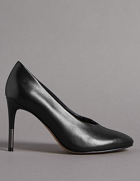 Leather Stiletto Heel High Cut Court Shoes