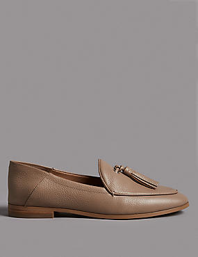Leather Block Heel Tassel Loafers