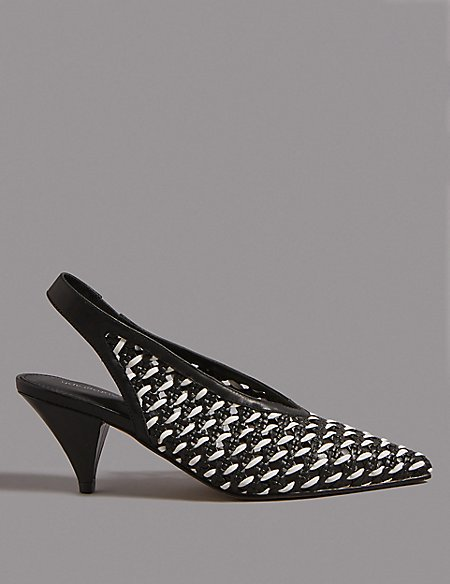 Leather Slingback Court Shoes
