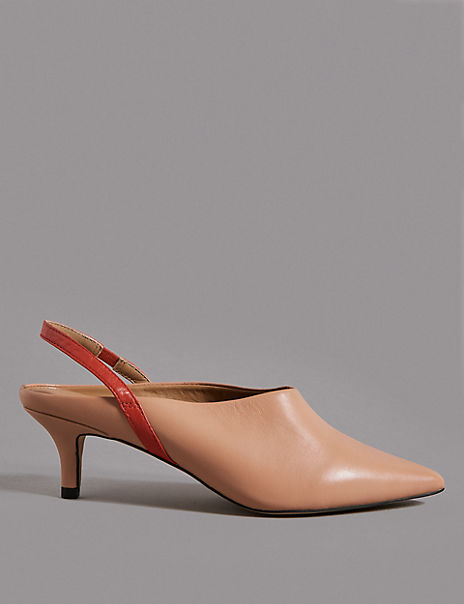 Leather Kitten Heel Slingback Court Shoes