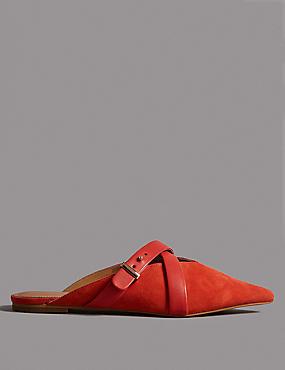 Suede Cross Strap Mule Shoe