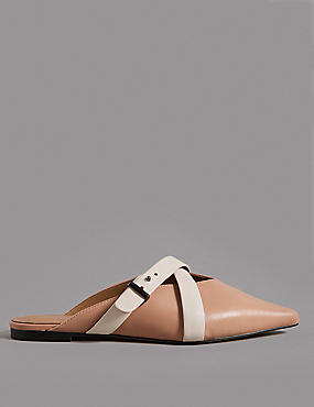 Leather Cross Strap Mule Shoes