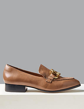 Leather Ring Detail Loafers