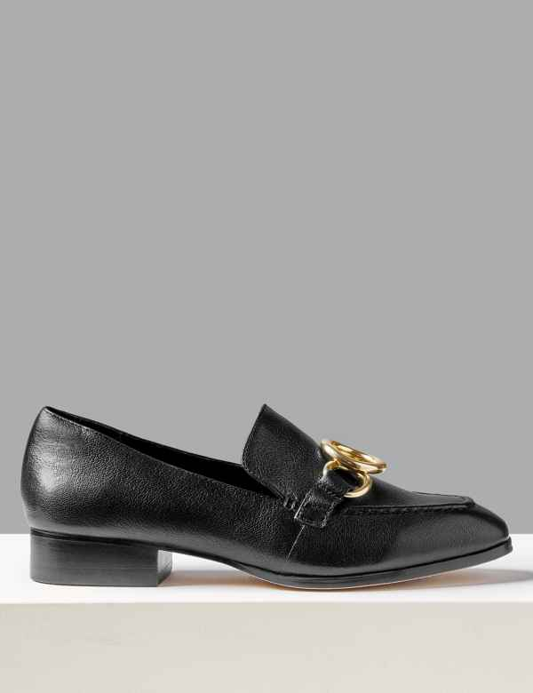 0e527956b27 Leather Ring Detail Loafers