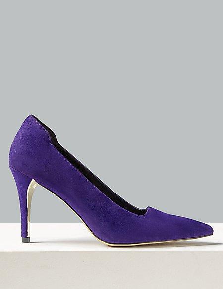 Suede Stiletto Heel Square Cut Court Shoes