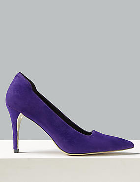 Suede Stiletto Heel Square Cut Court Shoes
