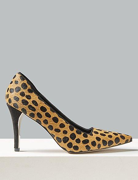 Suede Animal Print Stiletto Heel Court Shoes