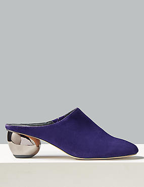 Suede Round Heel Mule Shoes