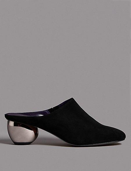 Suede Round Heel Mule Shoes