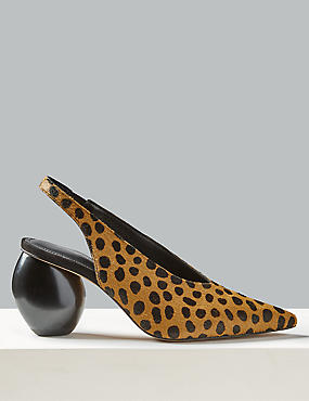 Suede Animal Print Slingback Court Shoes