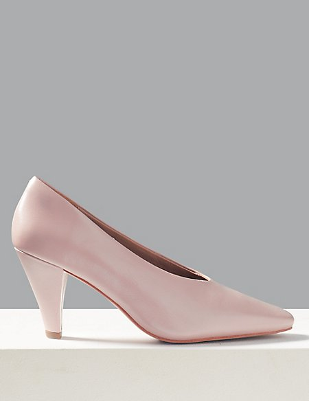 Leather Stiletto Heel Court Shoes