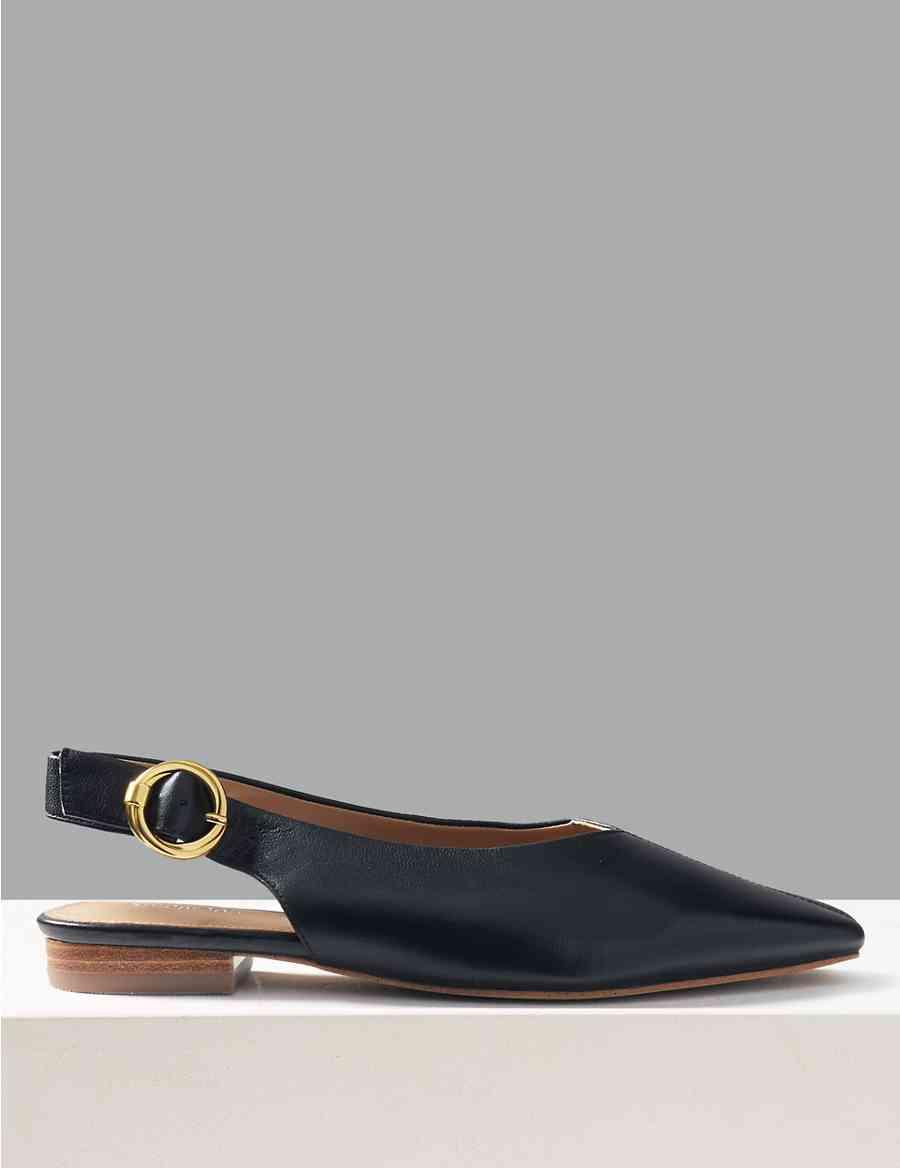 0c909bfe8db Leather Square Toe Slingback Shoes