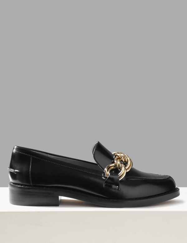 ff89ac0f213 Leather Chain Detail Loafers