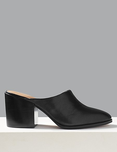 Leather Asymmetric Mules