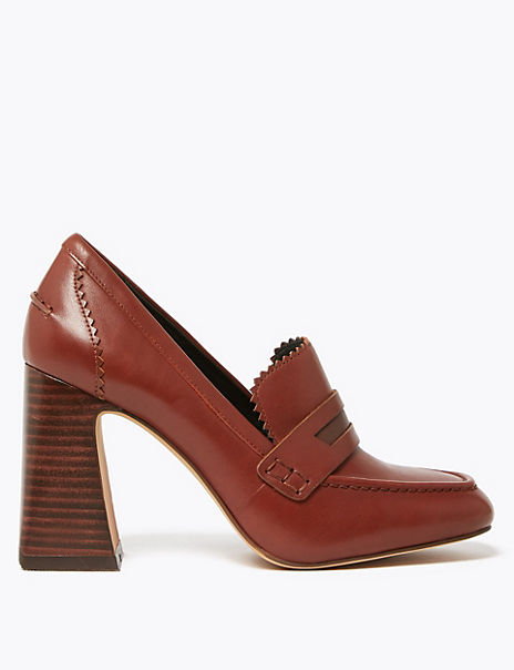 Leather Flared Block Heel Penny Loafers