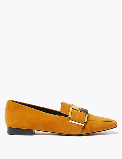 Suede Buckled Square Toe Loafers