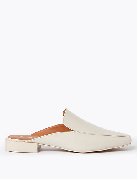 Leather Loafer Mules Shoes