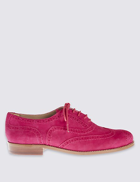 Suede Block Heel Brogue Shoes