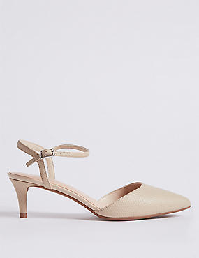 Wide Fit Leather Kitten Heel Court Shoes