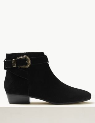Suede Block Heel Side Zip Ankle Boots by Marks & Spencer