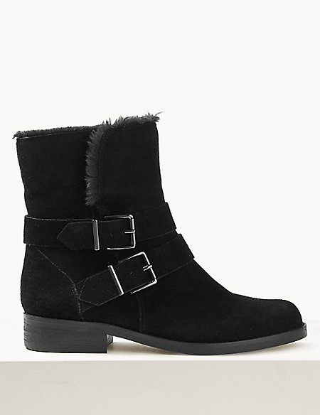 Suede Faux Fur Lined Buckle Detail Ankle Boots