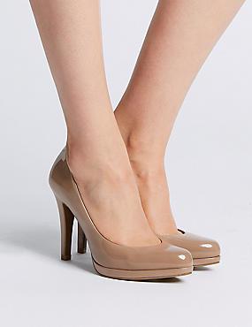 Stiletto Heel Platform Skin Tone Court Shoes