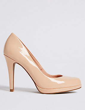 Stiletto Heel Platform Skin Tone Court Shoes