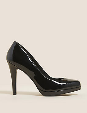 Stiletto Platform Court Shoes, BLACK PATENT, catlanding