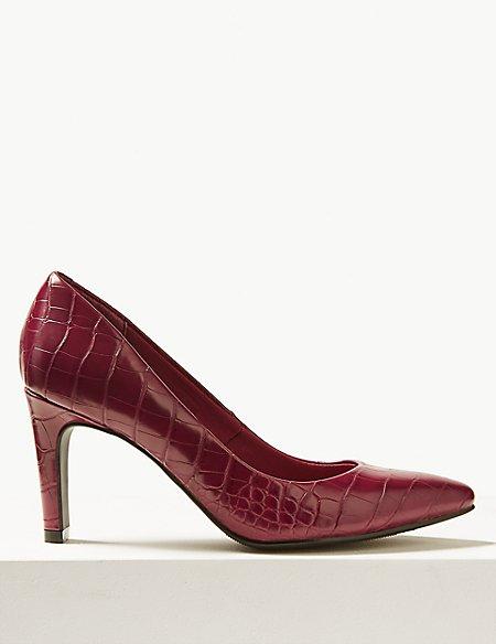 Stiletto Heel Pointed Skin Tone Court Shoes