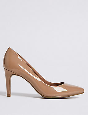 Stiletto Heel Pointed Skin Tone Court Shoes