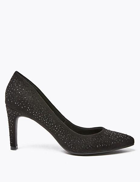 Embellished Stiletto Heel Court Shoes