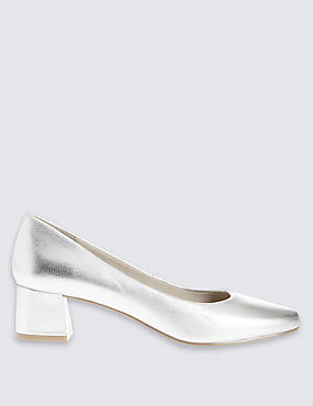 Low Block Heel Court Shoes with Insolia®