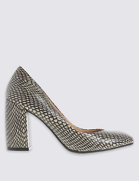 Flared Block Heel Court Shoes with Insolia®