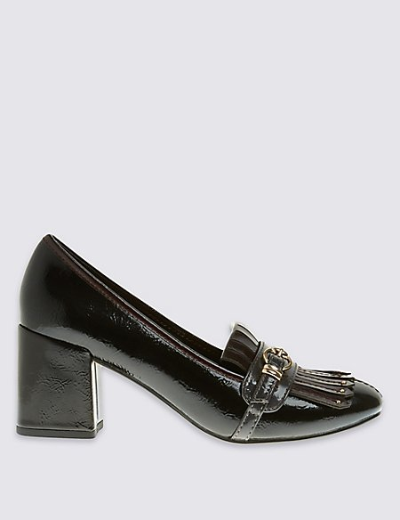 M&S COLLECTION Shoes Black Mix Block Heel Fringe Loafers with Insolia